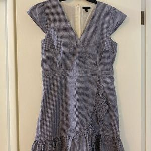 J.Crew blue and white gingham faux wrap dress